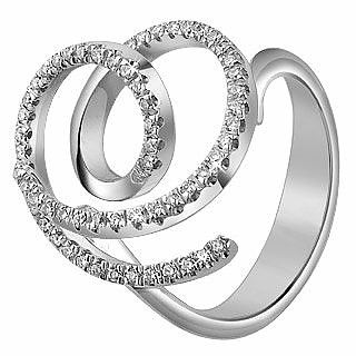 Diamond Coil 18K White Gold Ring - Forzieri