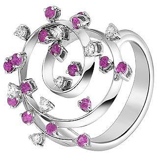 Diamond and Fuchsia Sapphire Coil 18K White Gold Ring - Forzieri