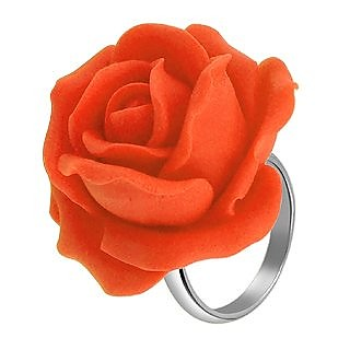 Hand Made Orange Rose Sterling Silver Fashion Ring - Forzieri