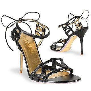 Black Italian Calf Leather Ankle-Strap Sandal Shoes - Forzieri