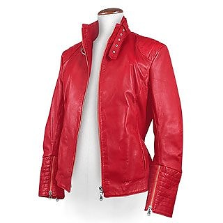 Red Motorcycle-style Short Leather Jacket - Forzieri