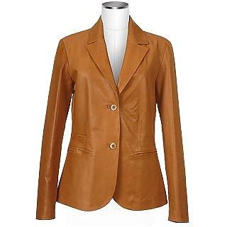 Women's Tan Italian Genuine Leather Blazer - Forzieri