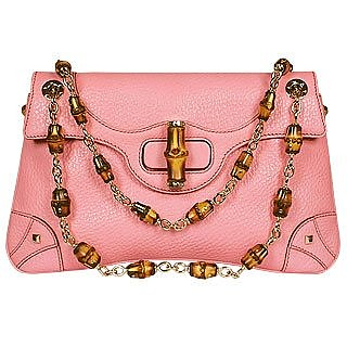 Anita - Pink Embossed Leather Flap Bag w/Bamboo Straps - Gucci