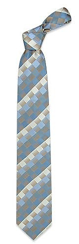 Blue Shaded Checked Woven Silk Tie - Ken Scott