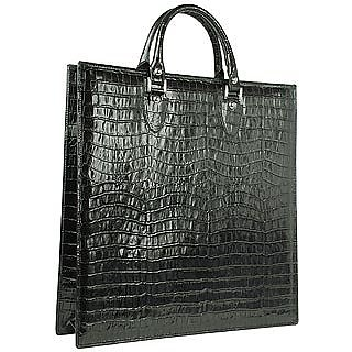 Black Croco Large Tote Leather Handbag w/Pouch - L.A.P.A.