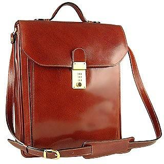 Cognac Leather Vertical Briefcase - L.A.P.A.