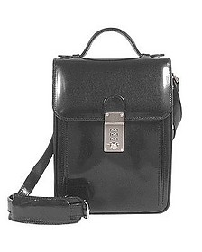 Black Leather Vertical Briefcase - L.A.P.A.