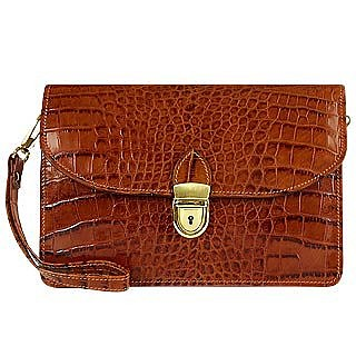 Cognac Croco-embossed Leather Clutch - L.A.P.A.