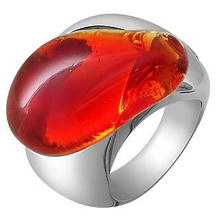 Vanita' - Red Murano Stone Silver Ring - Masini