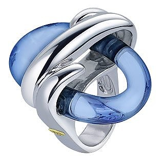 Blue Oval Murano Glass & Sterling Silver Ring - Masini