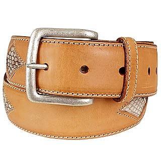 Cintura in pelle nocciola inserti stampa serpente Manieri cm 115/130 q6exEDzPI