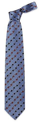 Pipe Pattern Sky Blue Woven Silk Tie  - Moschino