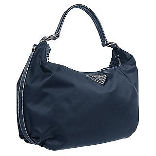 47e96bc88c Prada Logoed Dark Blue Nylon   Leather Medium Hobo Bag at FORZIERI