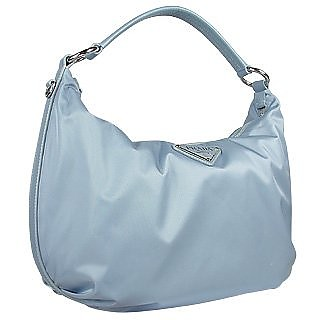 Prada Logoed Light Blue Nylon   Leather Medium Hobo Bag at FORZIERI 45a9a4002035c