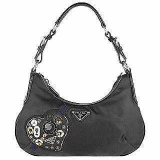39d1fa19b4f0 Prada Black Heart Patch Nylon & Leather Hobo Bag at FORZIERI Australia