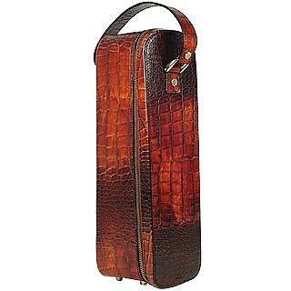 Cognac Croc-embossed Leather Wine Holder - Pratesi