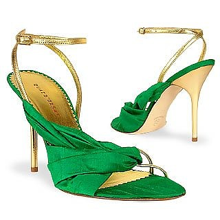 Emerald Green Silk & Gold Nappa Leather Sandal Shoes