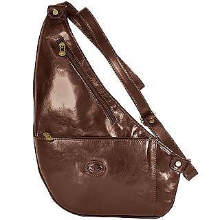 Brown Flat Sling Leather Backpack - Robe di Firenze