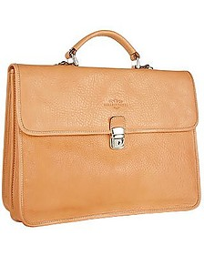 Men's Sand Double-Gusset Soft Leather Briefcase - Robe di Firenze