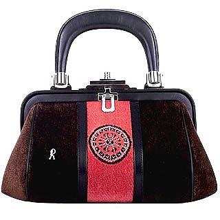 Baghongi Kleine Handtasche aus Samt in Braun & Lachsrot