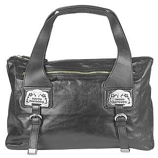 Logoed Plates Large Black Zip Leather Satchel Bag - Roccobarocco