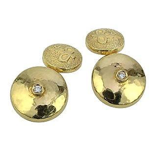 18K Yellow Gold Diamond Cufflinks - Torrini