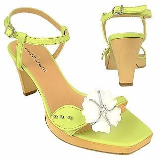Flower Pistachio Platform Leather Sandal Shoes - Borgo degli Ulivi