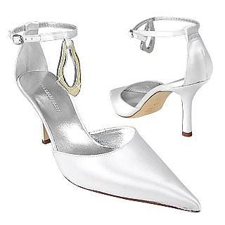 Pure White Satin Evening Pump Shoes w/ Stingray Pendant - Borgo degli Ulivi