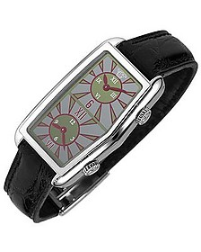 Women's Gray Logoed Dial Leather Dual-time Watch - Versace