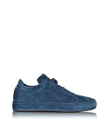 Blue Suede Low Top Men's Sneaker - Cesare Paciotti