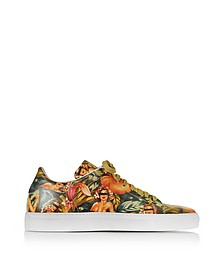 Pin up Printed Leather Low Top Men's Sneaker - Cesare Paciotti