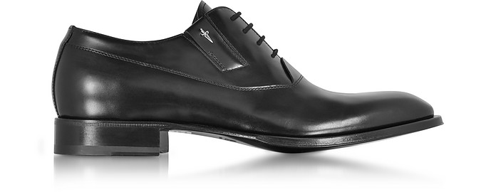 Black Baby Horse Leather Oxford Shoes - Cesare Paciotti