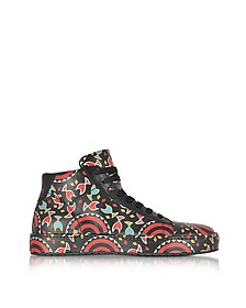 Multicolor Printed Leather High Top Men's Sneakers - Cesare Paciotti