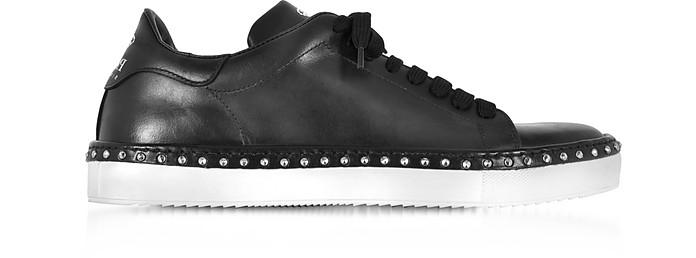 Black Aged Leather Men's Sneakers w/Studs - Cesare Paciotti