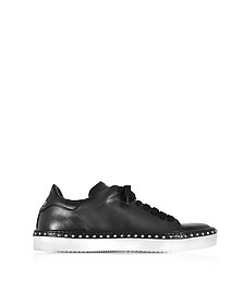 Black Aged Leather Men's Sneakers w/Studs - Cesare Paciotti