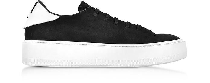 Black Suede Low Top Sneakers w/White Rubber Sole - Cesare Paciotti