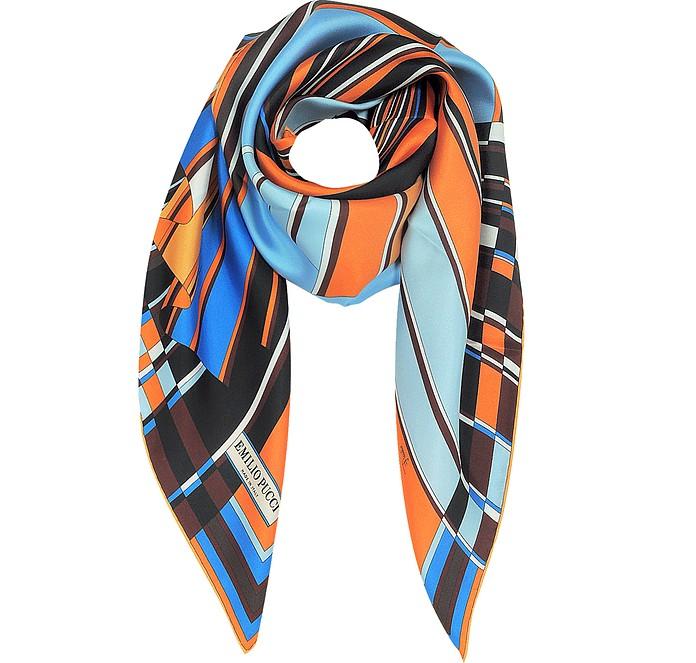 Orange and Blue Vortici Print Silk Scarf - Emilio Pucci