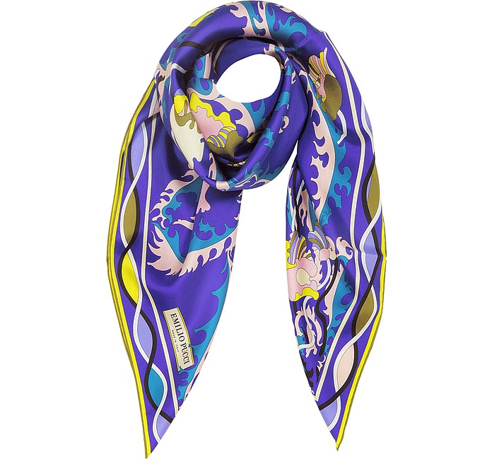 Blue and Yellow Silk Ranuncoli Print Square Scarf - Emilio Pucci