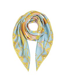 Light Blue Floral Print Twill Silk Square Scarf - Emilio Pucci