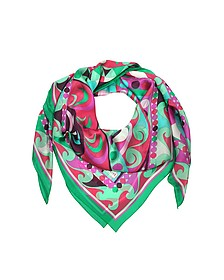 Emerald Green and Fuchsia Printed Silk Shawl - Emilio Pucci 普琪