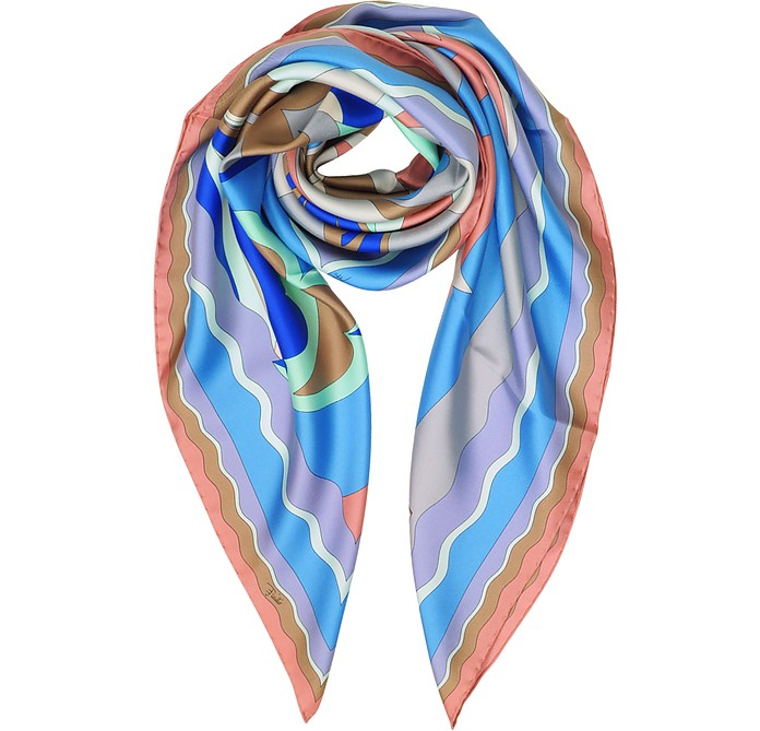 Waves Printed Twill Silk Square Scarf - Emilio Pucci