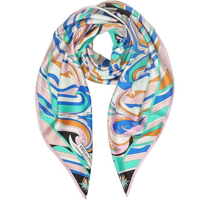 Floral Printed Twill Silk Square Scarf - Emilio Pucci