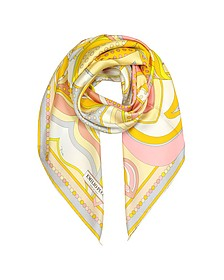 Floral Print Twill Silk Square Scarf - Emilio Pucci