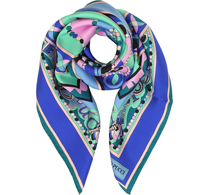 Cobalt Blue/Peony Pink Geometric and Signature Printed Silk Square Scarf - Emilio Pucci