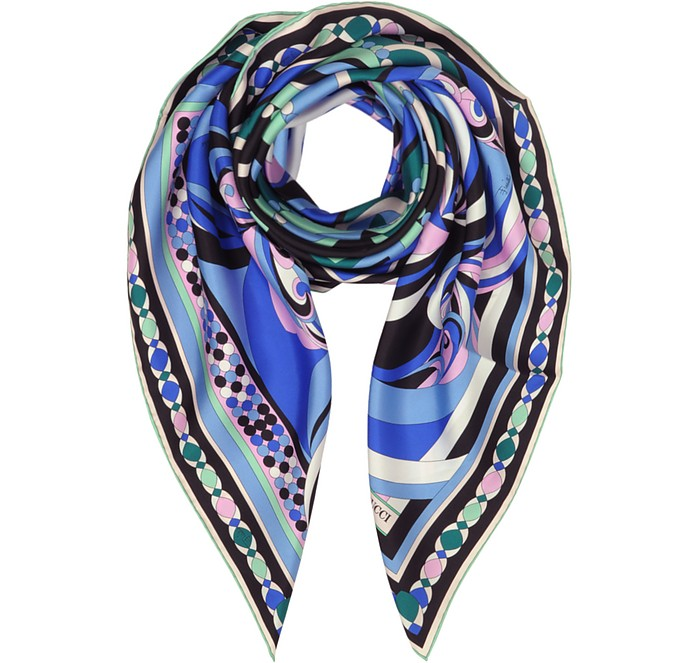 Cobalt Blue Geometric Pattern Print Twill Silk Square Scarf - Emilio Pucci