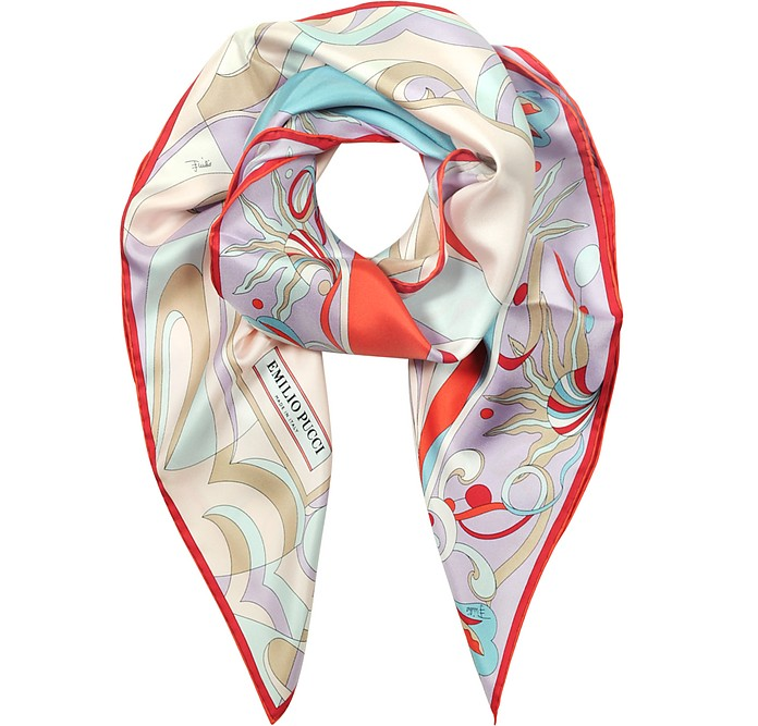 Burle Coral and Light Blue Pure Silk Square Scarf - Emilio Pucci