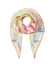 Copacabana Multicolor Signature Print Silk Square Scarf