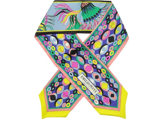 Тонкий Разноцветный Шелковый Шарфик с Фирменным Принтом - Emilio Pucci
