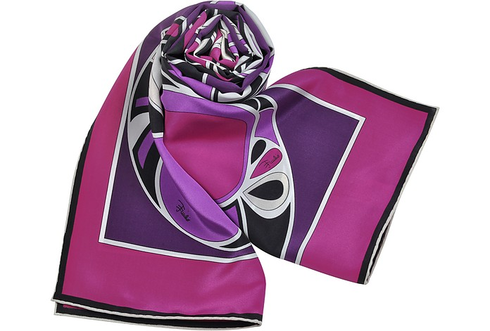 Flakes - Purple Printed Silk Long Scarf - Emilio Pucci