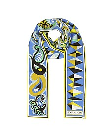 Paisley and Geometric Print Twill Silk Long Scarf - Emilio Pucci